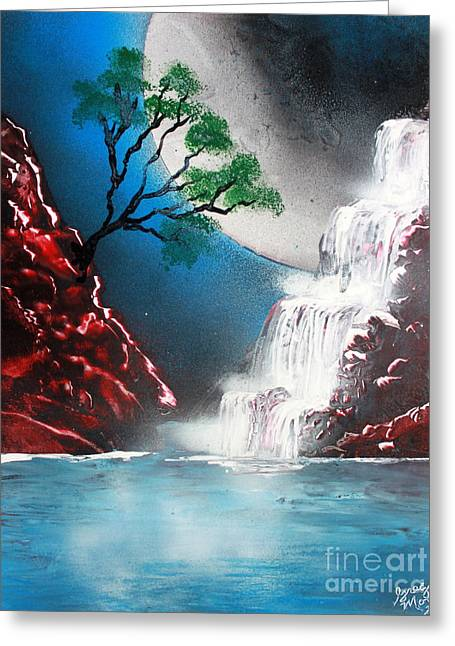 Outer Space Paintings Greeting Cards - Red Falls 4662 Greeting Card by Greg Moores