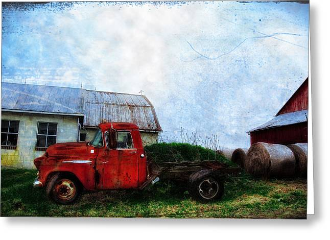 Hay Bales Greeting Cards - Red Farm Truck Greeting Card by Bill Cannon
