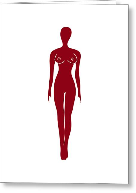 Red Female Silhouette Greeting Card by Frank Tschakert
