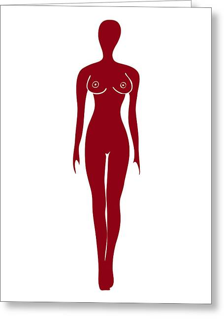 Impacting Drawings Greeting Cards - Red Female Silhouette Greeting Card by Frank Tschakert