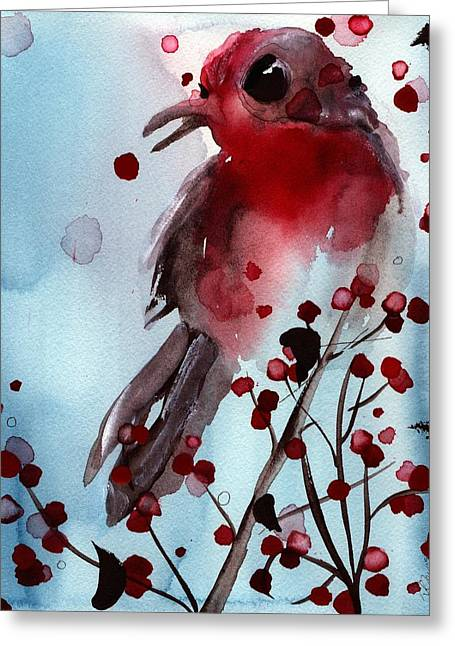 Red Finch In The Winterberry Greeting Card by Dawn Derman