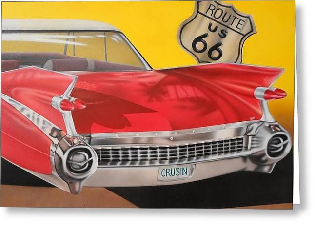 Caddy Paintings Greeting Cards - Red Fins on Route 66 Greeting Card by Brett Sauce