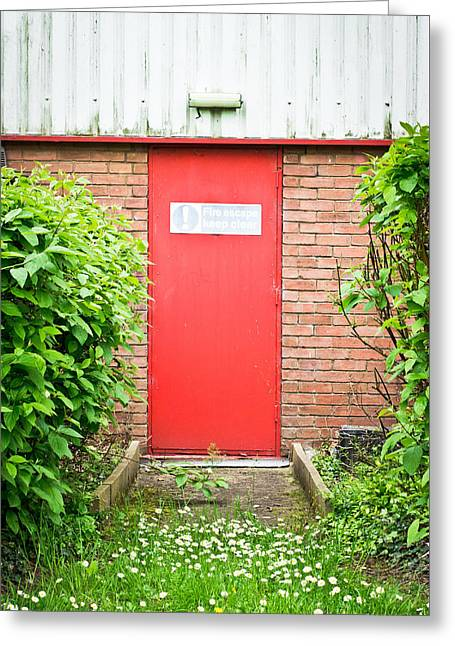 Alarm Greeting Cards - Red fire door Greeting Card by Tom Gowanlock