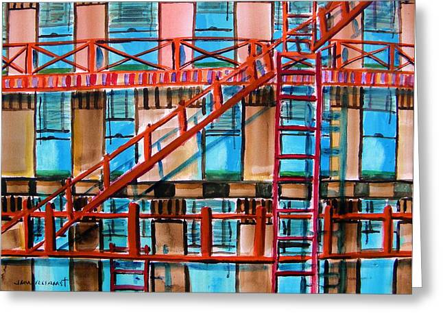 Red Fire Escape Greeting Card by John  Williams