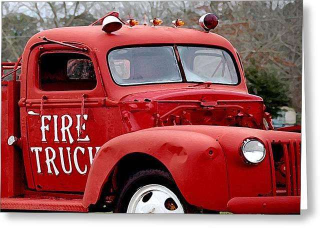 Old Trucks Digital Greeting Cards - Red Fire Truck Greeting Card by Michael Thomas