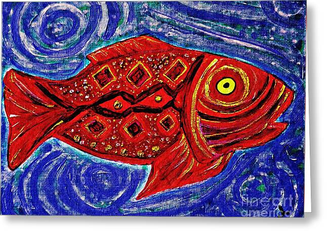 Fanciful Paintings Greeting Cards - Red Fish Greeting Card by Sarah Loft