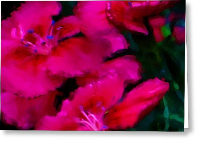 Red Floral Study Greeting Card by David Lane