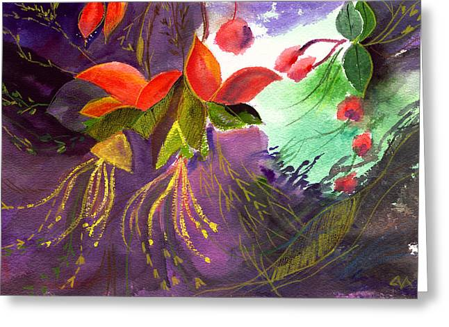 Red Flowers Greeting Card by Anil Nene