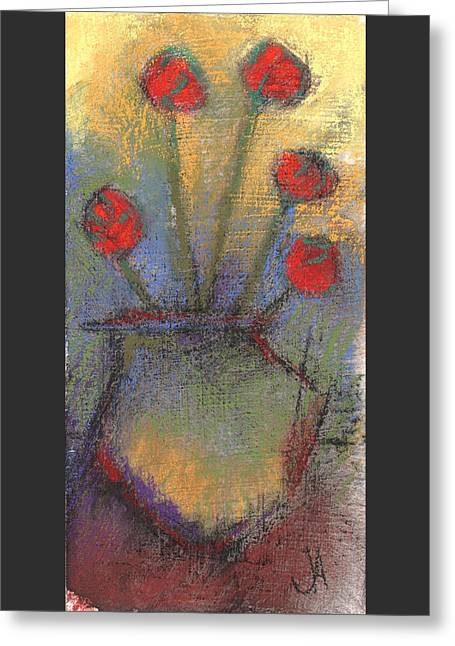Loose Pastels Greeting Cards - Red Flowers 2 Greeting Card by Janine Aykens