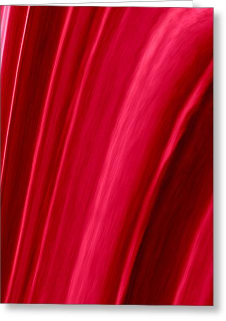Abstract Digital Tapestries - Textiles Greeting Cards - Red Folds Greeting Card by Suzi Freeman