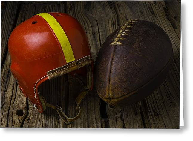 Red Football Helmet Greeting Card by Garry Gay