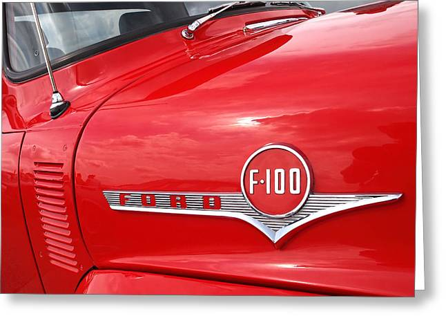 1956 Ford Truck Greeting Cards - Red Ford F-100 Emblem Greeting Card by Gill Billington