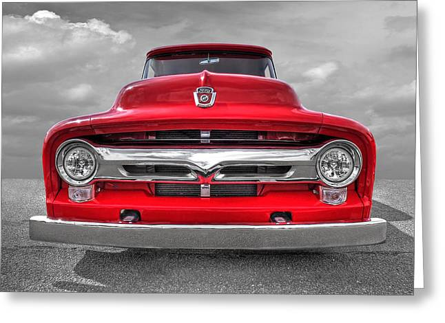 Head Badge. Logo. Greeting Cards - Red Ford F-100 Head On Greeting Card by Gill Billington