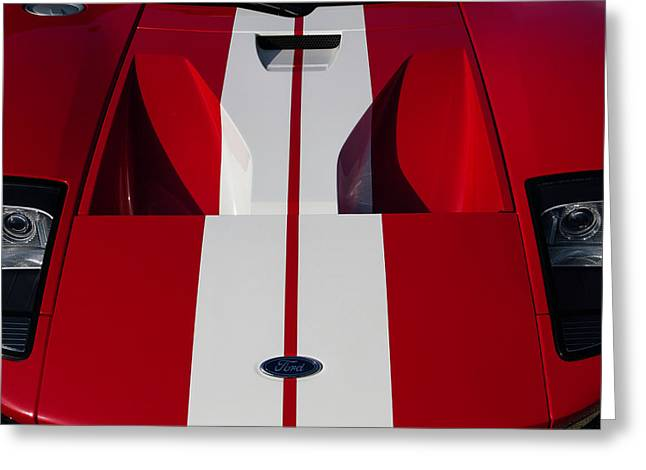 Red Ford Gt Hood Greeting Card by Joel Witmeyer