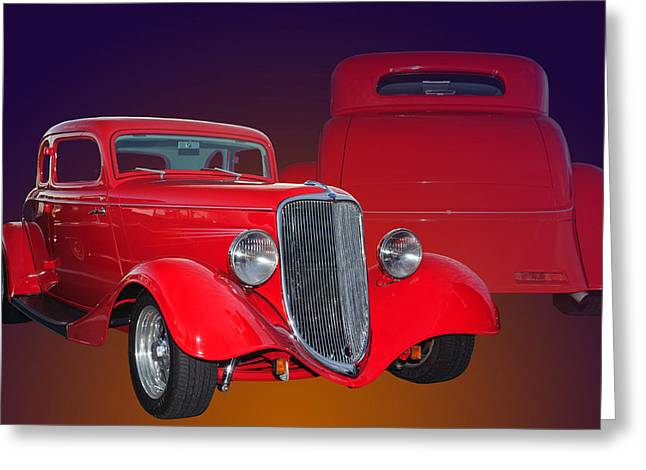 Deuce Coupe Greeting Cards - Red Ford Greeting Card by Jim  Hatch