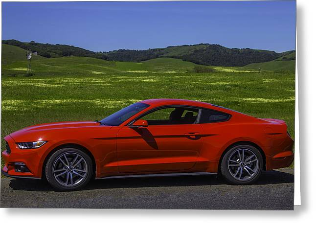 Red Ford Mustang Greeting Card by Garry Gay
