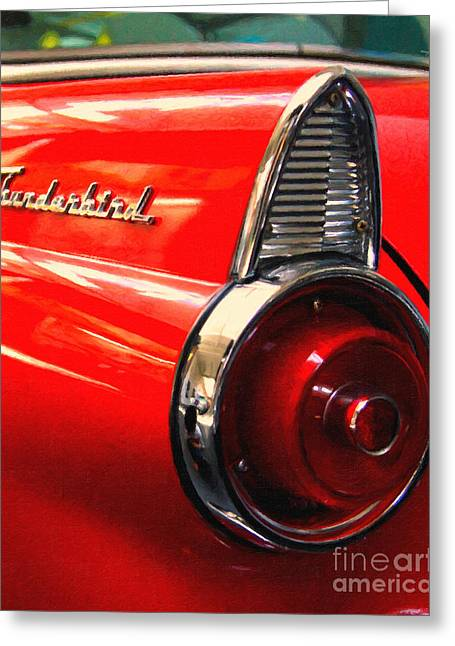 Made In The Usa Digital Greeting Cards - Red Ford Thunderbird . Automotive Art Series Greeting Card by Wingsdomain Art and Photography