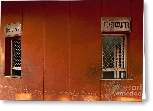 Ticket Booth Greeting Cards - Red Fort Ticket Counter Greeting Card by Inti St. Clair