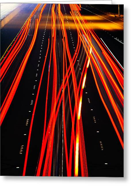 Red Freeway Tail Lights Greeting Card by Garry Gay