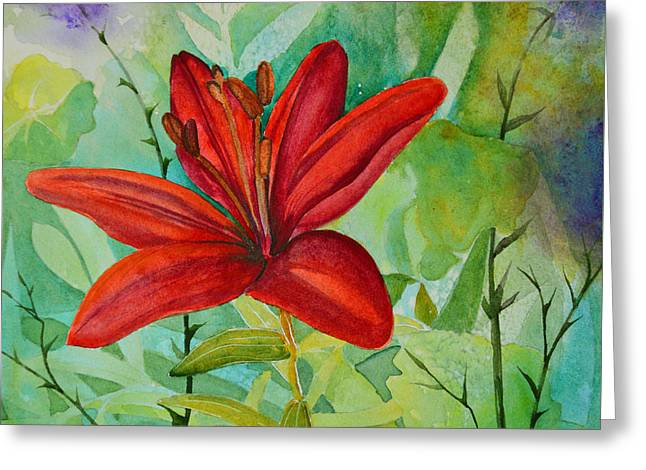Close Focus Floral Greeting Cards - Red Garden Lily Greeting Card by Terri Robertson