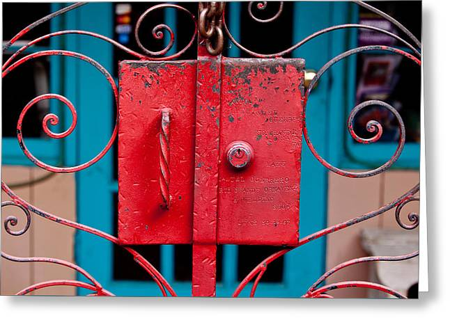 Metal Skill Greeting Cards - Red Gate in Santa Fe Greeting Card by Art Block Collections