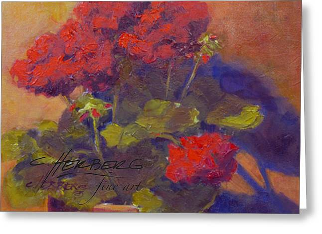 Red Geraniums Greeting Cards - Red Geranium 2 Greeting Card by Connie Herberg