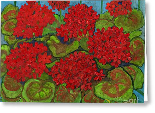 Polscy Malarze Greeting Cards - Red Geranium Greeting Card by Anna Folkartanna Maciejewska-Dyba