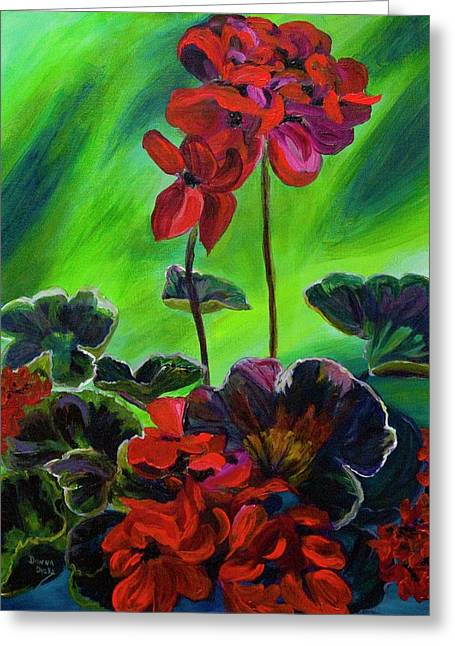 Red Geraniums Greeting Cards - Red Geranium Greeting Card by Donna Drake