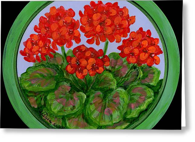 Red Geranium On Wood Greeting Card by Anna Folkartanna Maciejewska-Dyba