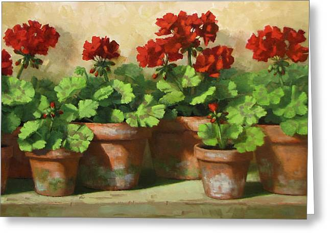 Red Geranium Greeting Cards - Red Geraniums Greeting Card by Linda Jacobus