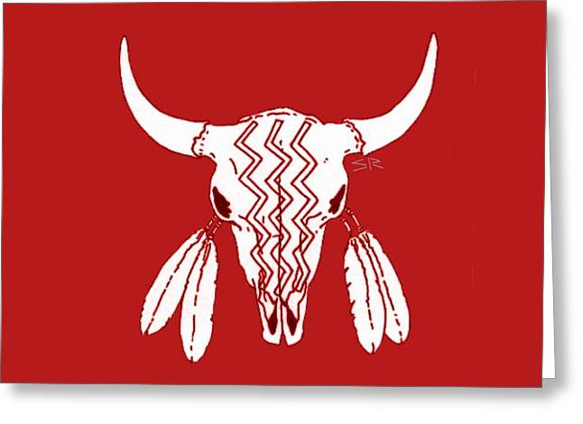 Red Ghost Dance Buffalo Greeting Card by Steamy Raimon