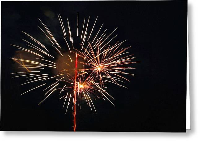 4th July Tapestries - Textiles Greeting Cards - Red Glare Plus Bomb Burst Greeting Card by Lin Grosvenor