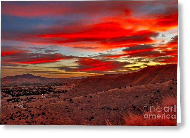 Red Glow Over Emmett Greeting Card by Robert Bales