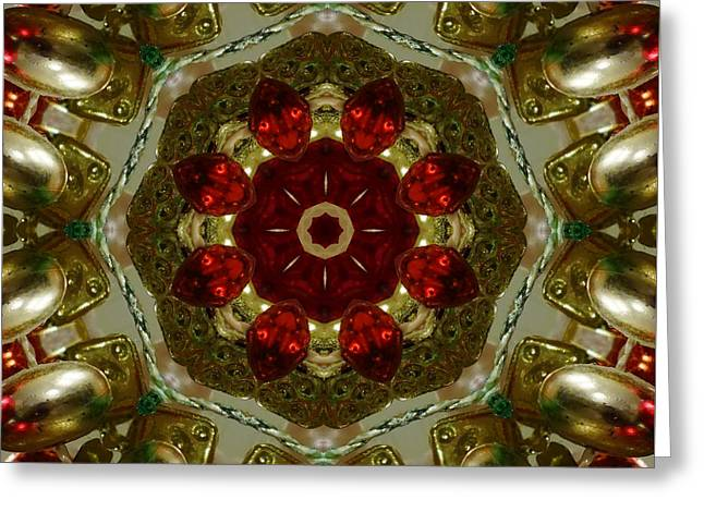 Christmas Greeting Greeting Cards - Red Gold Kaleidoscope 2 Greeting Card by Chandra Nyleen