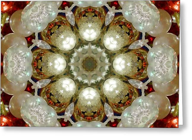 Christmas Greeting Greeting Cards - Red Gold White Kaleidoscope 1 Greeting Card by Chandra Nyleen