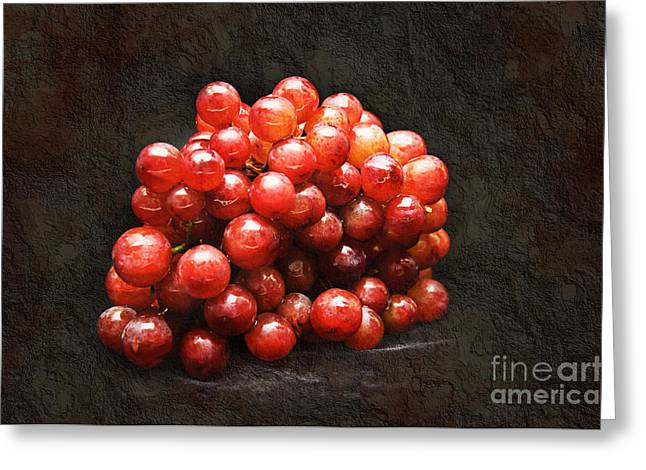 Natural Beauty Mixed Media Greeting Cards - Red Grapes Greeting Card by Andee Design