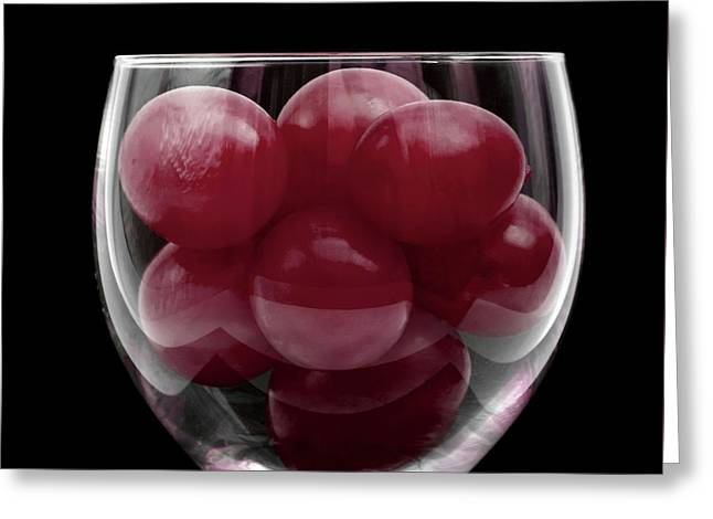 Red Grapes In Glass Greeting Card by Wim Lanclus