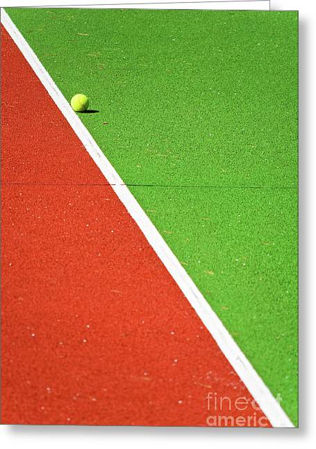 Silvia Ganora Greeting Cards - Red Green White Line and Tennis Ball Greeting Card by Silvia Ganora