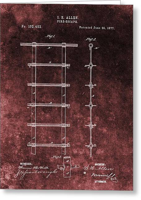 Historical Buildings Drawings Greeting Cards - Red Grunge Fire Escape Patent Greeting Card by Dan Sproul