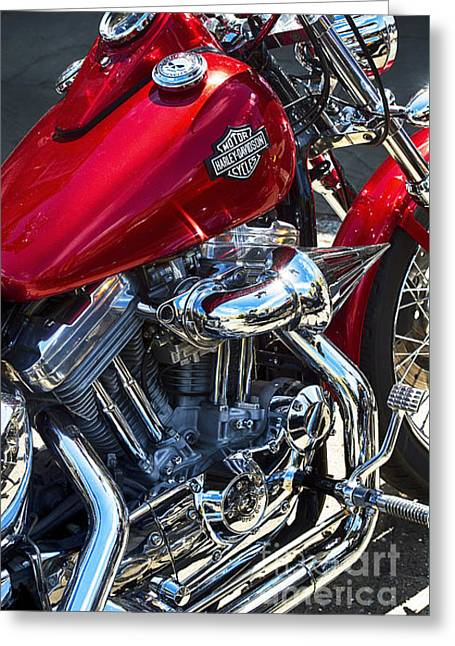Red Hog Greeting Cards - Red Harley Greeting Card by Tim Gainey
