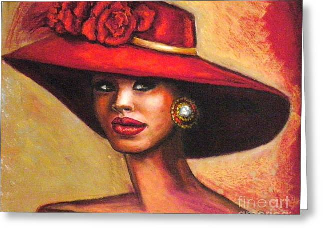 Beauty Pastels Greeting Cards - Red hat Greeting Card by Alga Washington