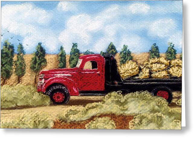 Bale Pastels Greeting Cards - Red Hay Truck Greeting Card by Jan Amiss
