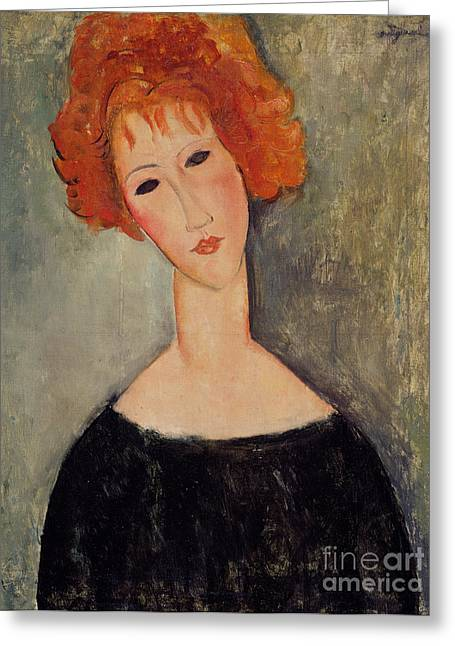 Lipstick Greeting Cards - Red Head Greeting Card by Amedeo Modigliani