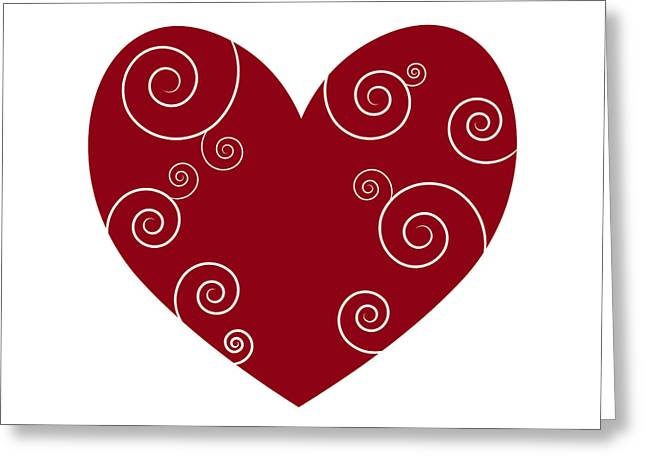 Swirly Greeting Cards - Red Heart Greeting Card by Frank Tschakert
