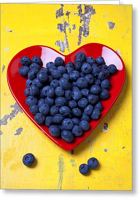 Food Still Life Greeting Cards - Red heart plate with blueberries Greeting Card by Garry Gay