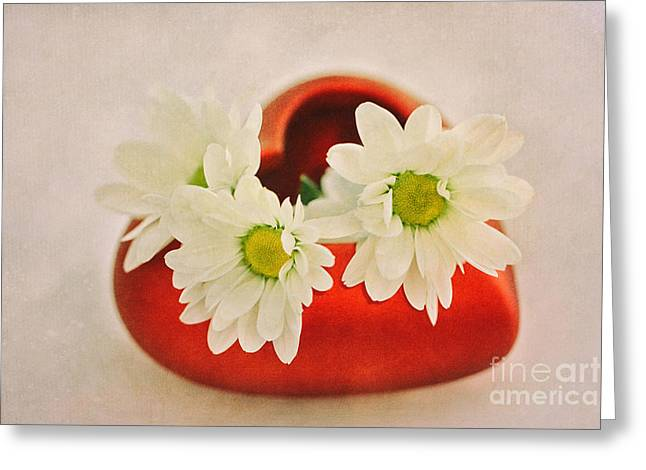 Red Heart With Flowers Greeting Card by SK Pfphotography