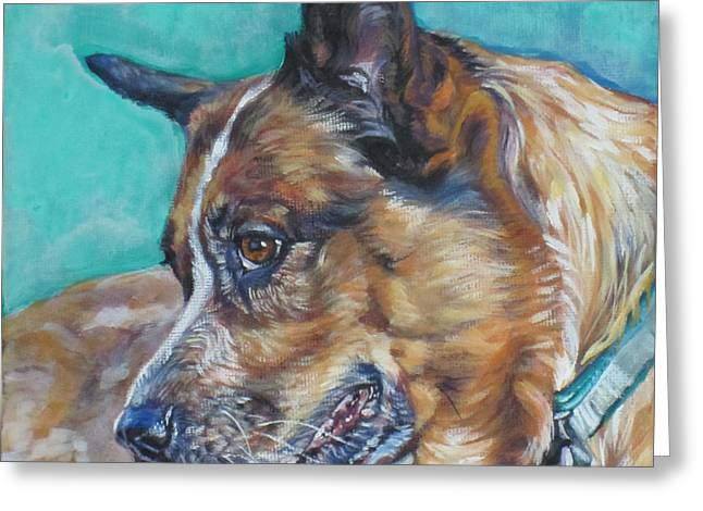 Cattle Dog Paintings Greeting Cards - Red Heeler Australian Cattle Dog Greeting Card by Lee Ann Shepard