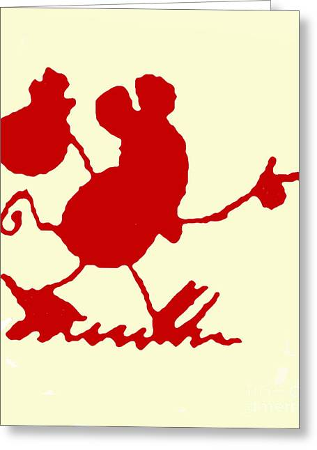 Hobo Greeting Cards - Red Hiking Ignatz Greeting Card by Charlie Spear