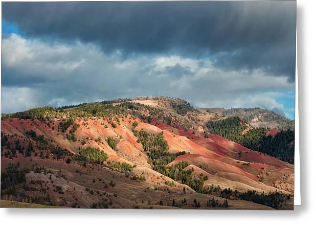 Bishop Hill Greeting Cards - Red Hills Landscape Greeting Card by Kathleen Bishop