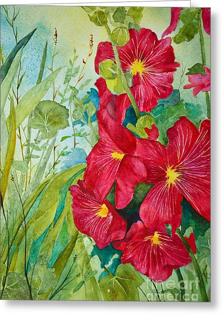 Close Focus Floral Greeting Cards - Red Hollyhocks Greeting Card by Terri Robertson